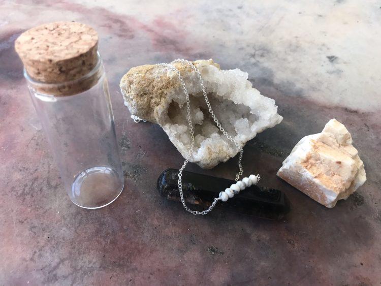 Kris Nations Natural Gemstone Howlite Mystic Bar Necklace