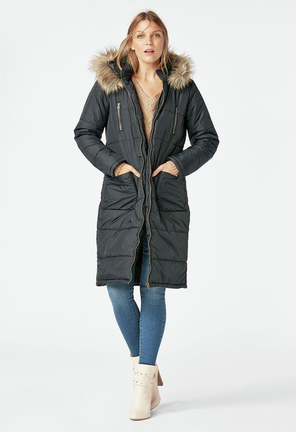 JustFab Long Puffer Coat Review